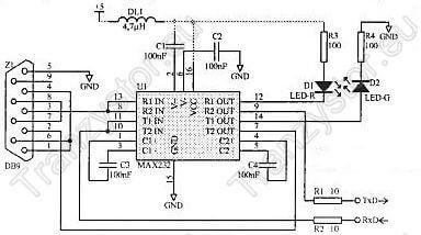 Konwerter RS232C/RS232 schemat ideowy