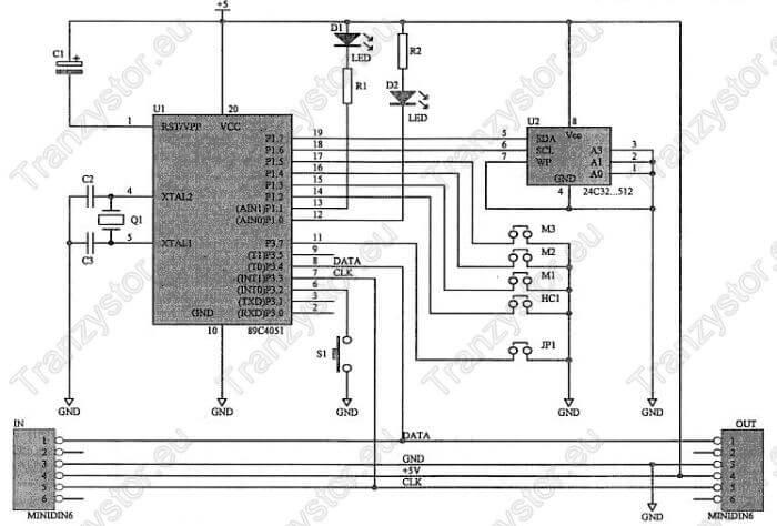 keylogger PS2 schemat