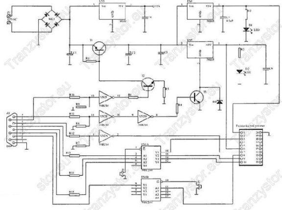 Programator ST62T10 schemat ideowy
