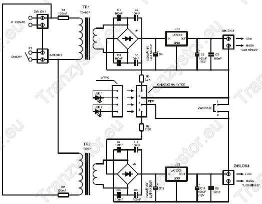 Zasilacz symetryczny od -/+5V do -/+12V