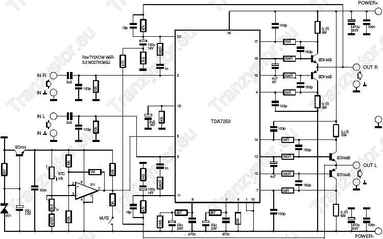 wzmacniacz audio 2×150W na TDA7250