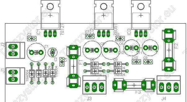 Zasilacz Stabilizowany +/-5V i 12V rozmieszczenie elementów