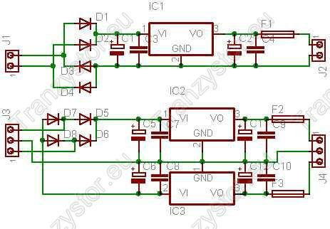 Zasilacz Stabilizowany +/-5V i 12V schemat ideowy