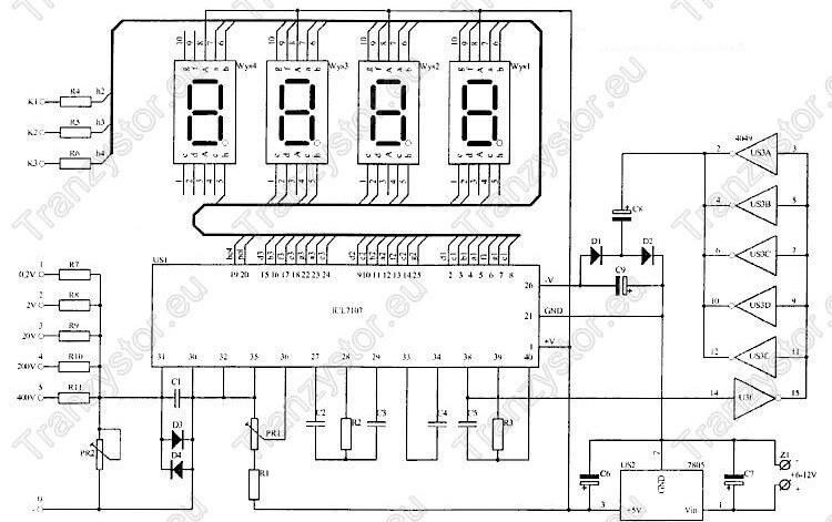 Panelowy woltomierz 200mV - 400V