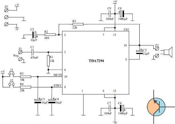 Wzmacniacz audio 100W TDA7294