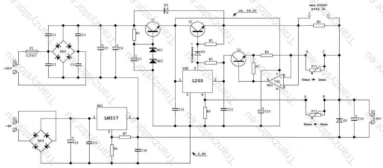 schemat ideowy warsztatowy regulowany 0 - 30V / 2A