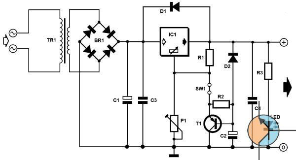 Prosty zasilacz regulowany od 1,2V do 27V 1A.