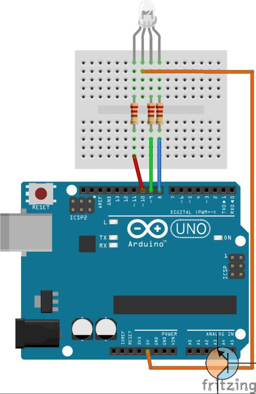 Sterowanie diodą RGB arduino