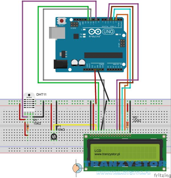 DHT11 z wyświetlaczem LCD