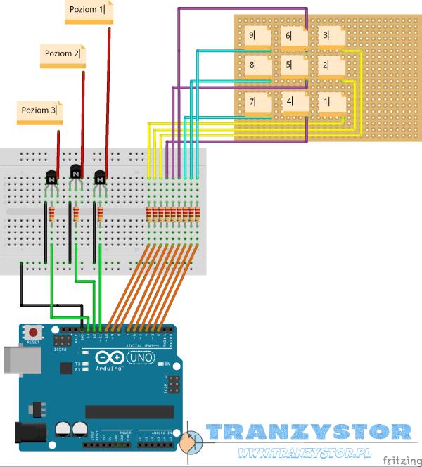 LED Cube 3x3x3 schemat