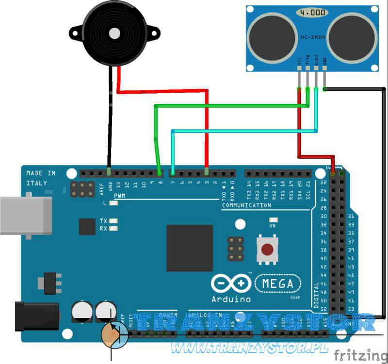 Arduino - mini alarm HC-SR04