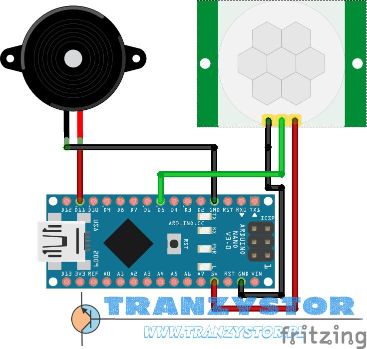 Arduino mini alarm pir hc sr tranzystor pl vortal