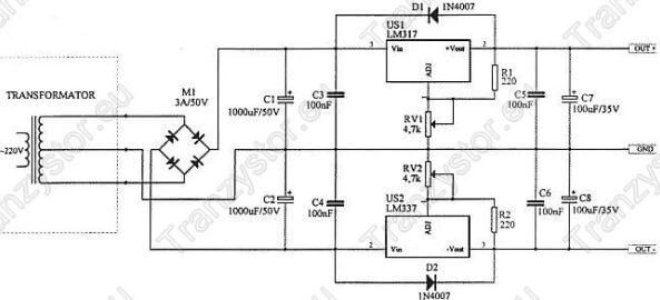 Redulowany sypetryczny zasilacz 30V / 1A
