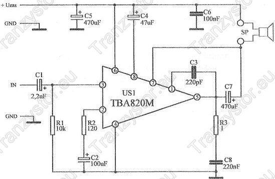 wzmacniacz monofoniczny 2W RMS TBM820M