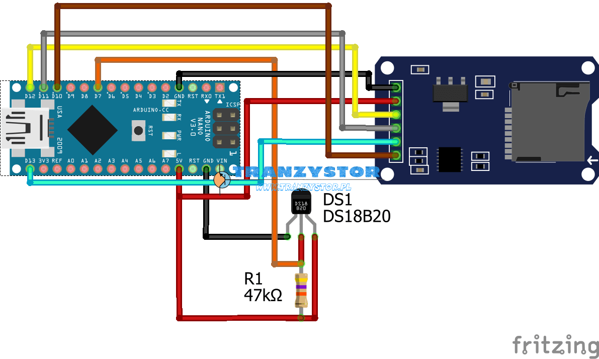 DS18B20 zapis temperatury na karcie SD