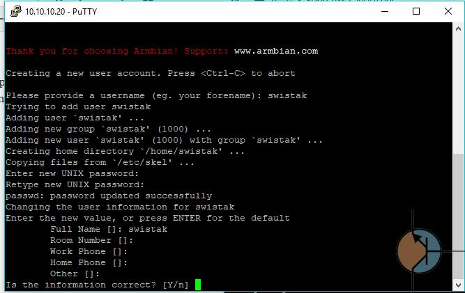 orange pi zero dodawnie użytkownika
