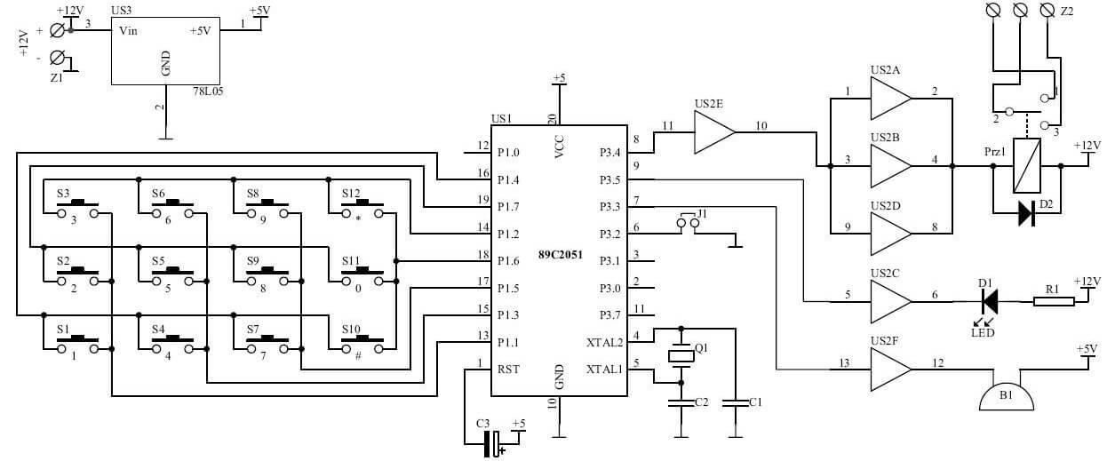 Mikroprocesorowy zamek szyfrowy