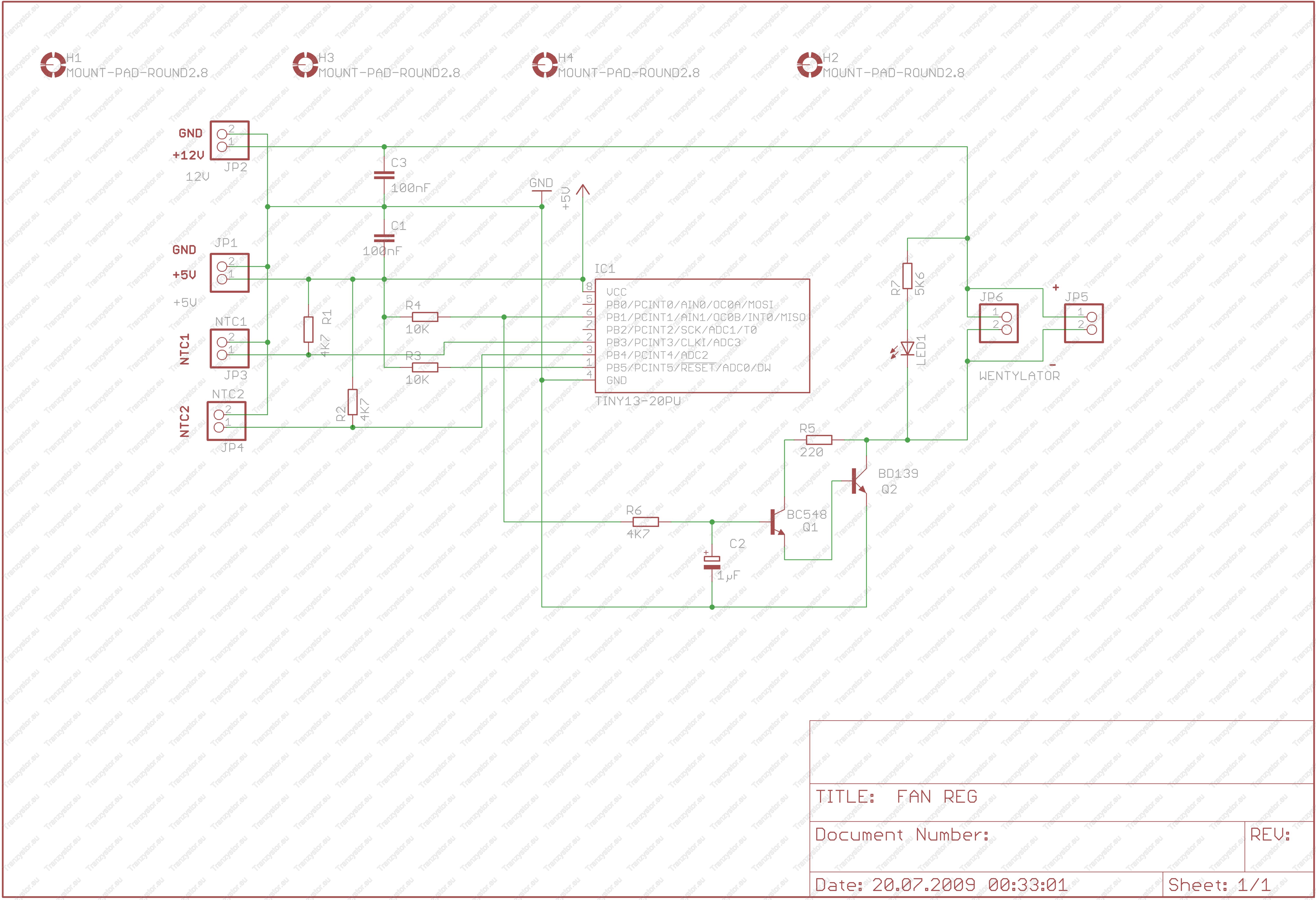 Sterownik obrotów wentylatora mikroprocesorowy schemat