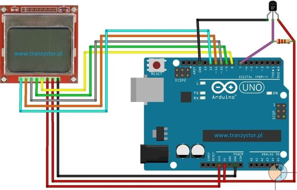 termometr DB18B20 LCD 5110